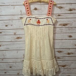 Anthro | Freelance Lace Embroidered boho dress